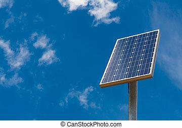 Solar panel against a blue sky