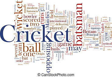 Cricket word cloud - Word cloud concept illustration of...