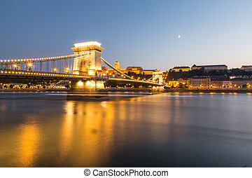 Budapest Hungary Chain Bridge night shot