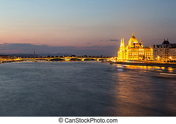 Budapest Hungary Danube river night shot