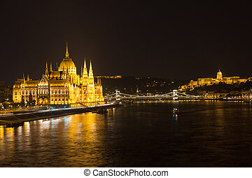 Budapest Hungary, Parliament and Danube river night shot