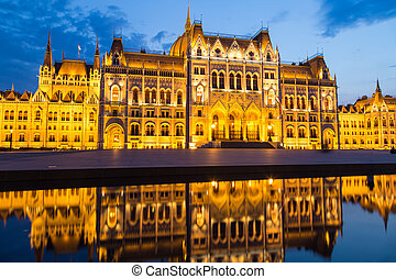 Budapest Hungary, Parliament night shot