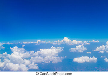 Blue sky with white clouds, aerial photography