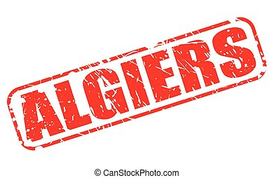 ALGIERS red stamp text on white (Capital of Algeria)
