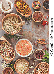 Legumes, grain and seeds - Assortment of legumes, grain and...