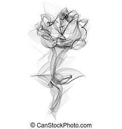 Realistic Smokey Rose Isolated on White - Realistic Smokey...
