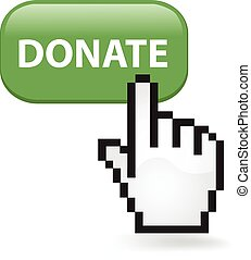 Donate Button - Donate button with a cursor hand
