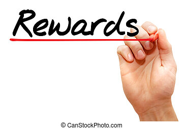 Rewards - Hand writing Rewards with marker, business concept