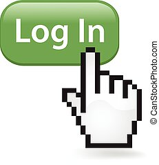 Log In Button Click - Log in button with a cursor arrow