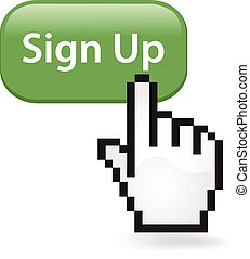Sign Up Button - Sign up button with a cursor hand