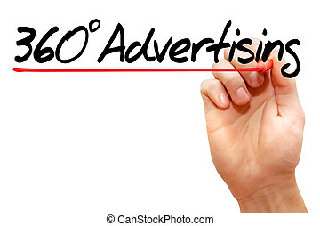 360 degrees Advertising - Hand writing 360 degrees...