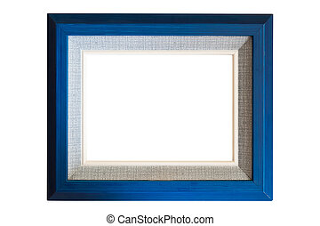 Blue wood frame with burlap texture