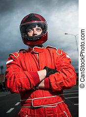 Race car driver - Closeup race car driver wearing protective...