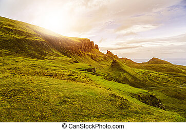 Scottish Highlands - scenic sunset with vanilla sky in the...