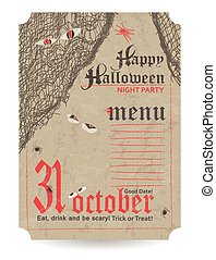 Vintage menu to Halloween party. Vector illustration.