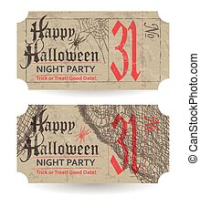 Vintage ticket to Halloween party. Vector illustration.