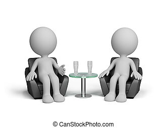 Friendly chat - Two men talk amiably sitting in a chair. 3d...