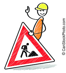 warning sign - An image of a warning sign with a stick man