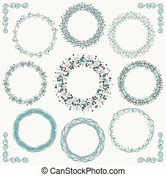 Colorful Hand Sketched Rustic Frames, Borders, Corners -...