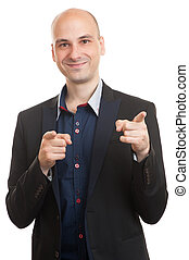 man pointing at you - Handsome bald businessman pointing his...