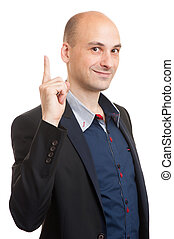 Business man pointing with his finger - Businessman pointing...
