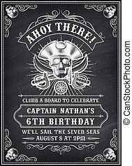 Chalkboard Death Pirate Invite 2 - Vintage Looking Invite...