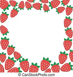Frame with strawberries. Vector template for design.