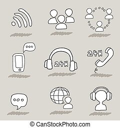 Call center hand drawn icons. Support online operator and...