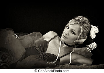 woman lounging in sepia