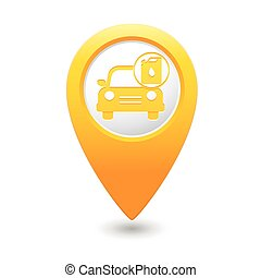 Yellow map pointer with gas station