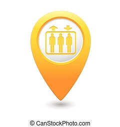 Map pointer with elevator icon - Yellow map pointer with...
