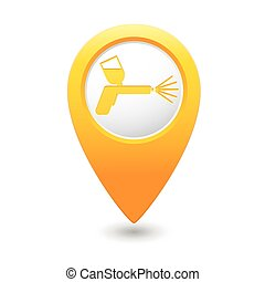 Map pointer with spray gun icon - Yellow map pointer with...