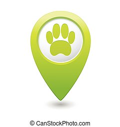 Green map pointer with pet paw icon