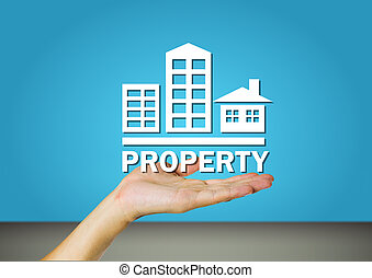 Property mark on hand with blue background