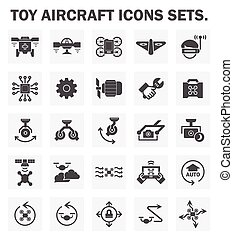 Drone icon - Toy aircraft icons sets