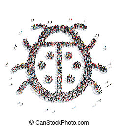 group people shape beetle - A group of people in the shape...