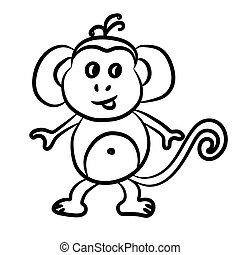 Outlined monkey vector illustration