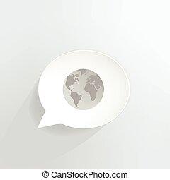 Globe speech bubble.