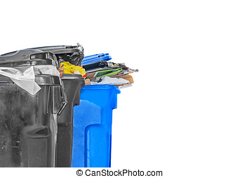 Full garbage and recycling bins - Plastic black and blue...