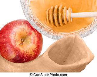 Jewish New Year holiday shofar apple and honey isolated on...