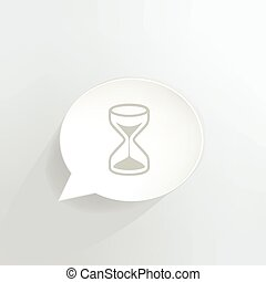 Hourglass speech bubble.