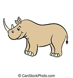 Cartoon rhino. Vector illustration.