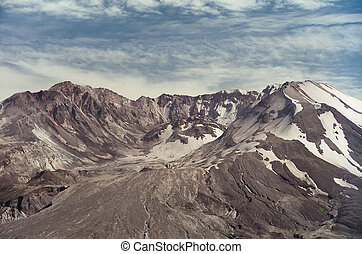 Mount Saint Helens in 1997 - Closeup of Mt St Helens lit by...