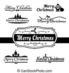 Merry christmas calligraphy text, isolated on white background 002