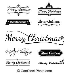Merry christmas calligraphy text, isolated on white background