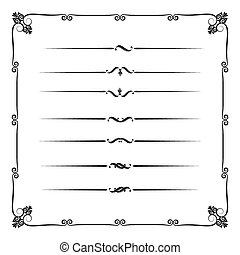 Collection of decorative line elements, border and page rules vector illustration