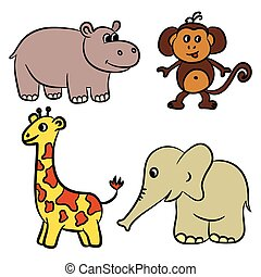 Cute zoo animals collection. Vector