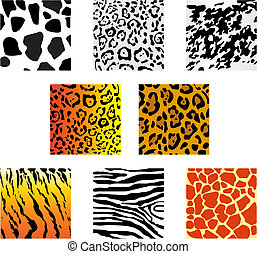 Animal fur and skin - Set of animal fur and skin patterns...
