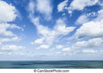 Bright Blue Sky  - Blue sky and white clouds