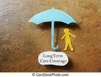 Long Term Care - Paper person under an umbrella with Long...